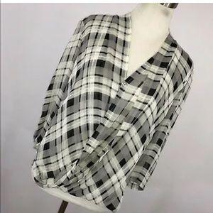 Babaton XS Silk Gray Black Plaid drape V Neck Top